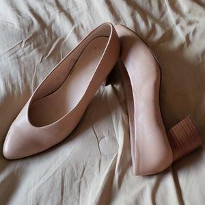 New tan block heels